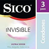 Condones de Látex, Sico Invisible Ultra Sense, Cartera con 3 Piezas