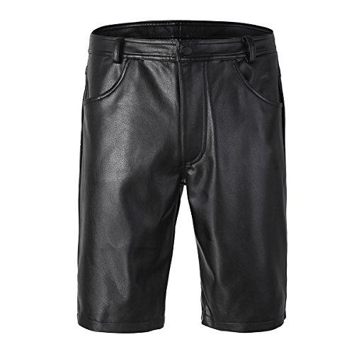 MSemis Black Mens Faux Leather Boxer Shorts Half Pants Pockets Hip Hop Cargo Sports Shorts Clubwear Black Large ()