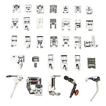 Magiin Kit de Accesorios de Costura Multifunción Multifunción Máquinas de Coser Presser Sewing Tool Plata Metal (32 Tipos de Versión en Inglés Simple de ...
