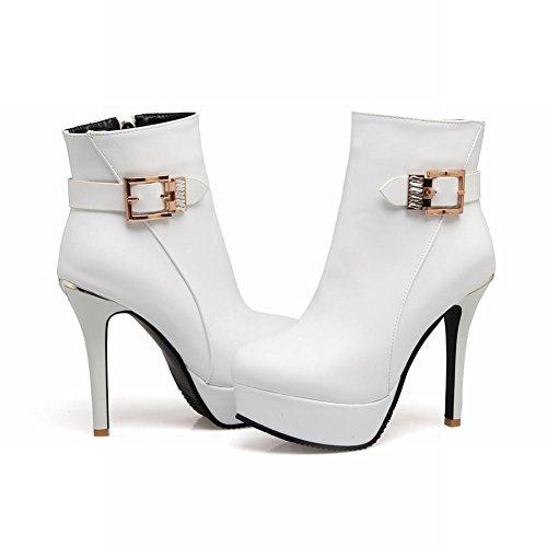 Latasa Mujeres Monk-strap Plataforma Stiletto High Heels Botines Blanco