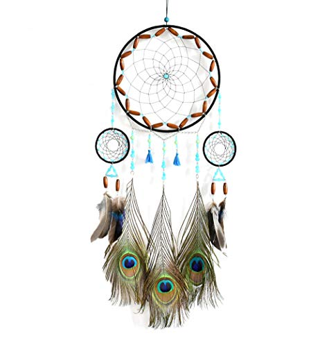 (Large Peocock Feather Dream Catcher 8x31 inch Turquoise Beads 3 Handmade Weave Webs Boho Hippie Native American Wall Hanging Bedroom Baby Shower Wedding Party Dorm Apartment Home Decor)