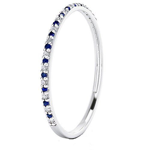 14k Gold Dainty Half Band Natural Diamond and Blue Sapphire Wedding Anniversary Ring (white-gold, 5)