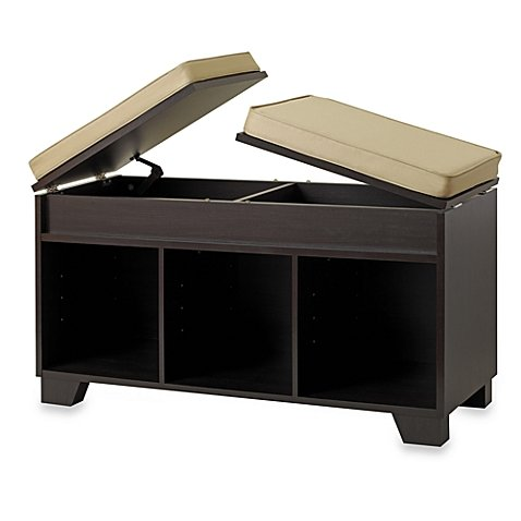 Split-Top Window Storage Seat Bench Unit in Espresso by Real Simple®