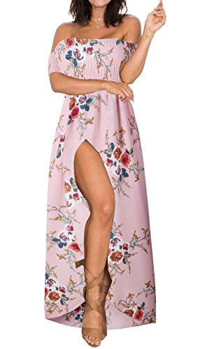 (Summer Beach Maxi Dresses for Women Off The Shoulder Floral Boho Sundresses Pink M)