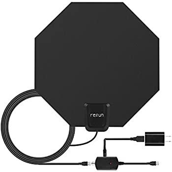 TV Antenna Indoor 50 Miles, Refun HDTV Antenna For Digital TV With Detachable Amplifier Signal Booster, USB Power Supply and 20FT High Performance Coax Cable