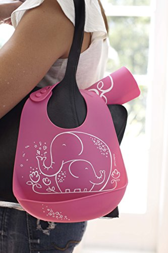 Elephant Waterproof Silicone Baby Bucket Bib with Adjustable Strap, Plastic Free, Wipe Clean and Dishwasher Safe, Pink