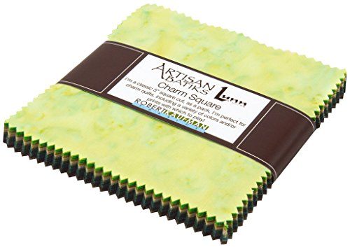 (Lunn Studios PRISMA DYES RAINFOREST BATIKS Precut 5-inch Charm Pack Cotton Fabric Quilting Squares Assortment Robert Kaufman)