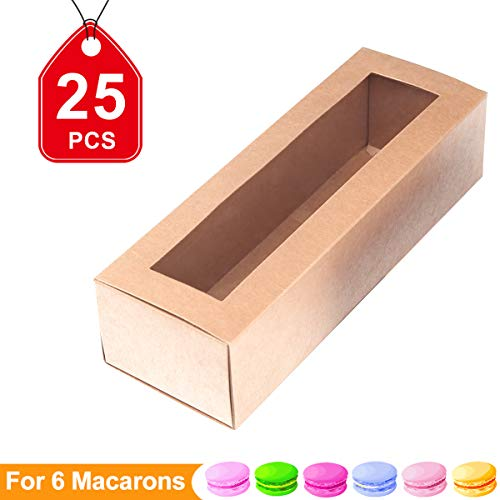 Macaron Boxes Macarons Boxes Macarons Box for 6 Macaron Container Macaroon Packaging Boxes with Clear Window (Kraft, 25 units pack)4.9 inch ×2.1 inch×2.1 inch by PACKHOME ()