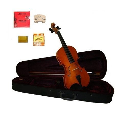 Grace 15.5 Inch Natural Student Viola with Case, Bow+2 Sets Strings+2 Bridges+pitch Pipe+rosin by Grace
