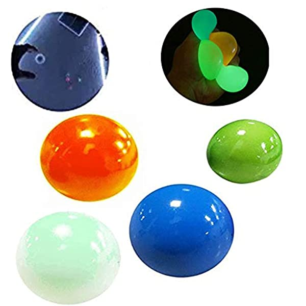 Tear-Resistant Ceiling Sticky Target Balls Fun Toys Kids and Adults- 45mm Luminescent Stress Relief Balls Sticky Ball Fluorescent Sticky Wall Balls Decompression Toys Balls Kids and Adults