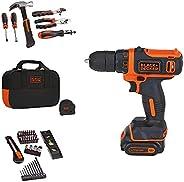 BLACK+DECKER 12V MAX Drill & Home Tool Kit, 60-Piece (BDCDD1