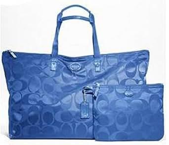 Coach Getaway Signature Nylon Packable Weekender Bag F77321 (SV/Cool Blue)