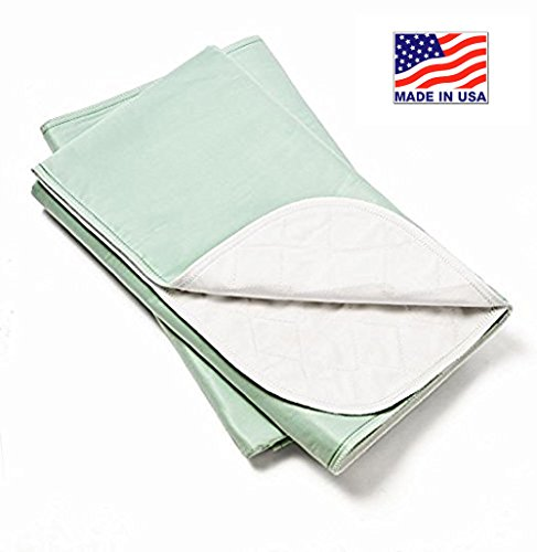 Platinum Care Pads Made in USA Bed Pad Heavy Duty Reusable Underpad Washable 36' x 52' Green