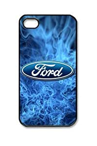 Blue Ford Car Logo Flames Iphone 4/4S Black Sides PC Hard Shell Case by eeMuse by icecream design