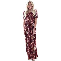 """Miranda"" Modest Maxi Dress in Burgundy w/Floral Print"
