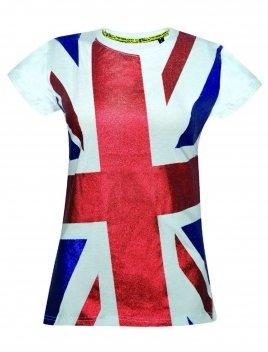 5d552a08a Ladies Union Jack Glitter T Shirt (Large, White): Amazon.co.uk: Clothing