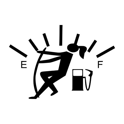 Funny Gas Guage Girl Vinyl Decal Sticker | Cars Trucks Vans SUVs Windows Walls Cups Laptops | Black | 5.5 Inch | KCD2436B (Funny Stickers And Decals Car)