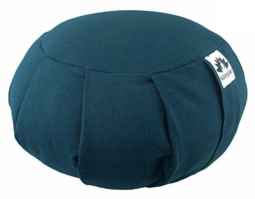 Zafu Yoga Meditation Pillow with USA Buckwheat Hull Fill, Certified Organic Cotton 6 Colors