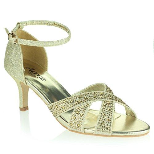 Mujer Señoras Resplandecer Punta Abierta Correa Tacón Medio Noche Fiesta Boda Prom Diamante Nupcial Sandalias Zapatos Talla Oro
