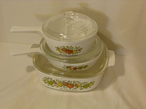 Vintage Kitchen Glass Casserole (Corning Ware Vintage Made in USA Spice of Life Set of 3 Casseroles With Glass Lids: P-82-B 1 1/2 PT Sauce Pan; P-83-B Skillet; A-2-B 2 QT Casserole)