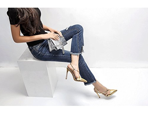 Sandals High Dream Gold Shoes 39 Color Sexy Shoes Pointed Size Ankle Heels Elegant Leather H6TxqI5WwT