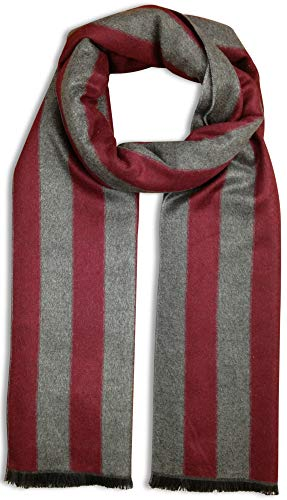 Bleu Nero Luxurious Winter Scarf Premium Cashmere Feel Unique Design Selection (Burgundy/Grey Thick Vertical Stripes)