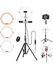 """K&F Concept 10"""" LED Ring Light with Maximum 95"""" Tripod Stand, 3 Phone Holders and Clips, Remote Control for Photography, TIK Tok, Live Streaming, Makeup, Selfie"""