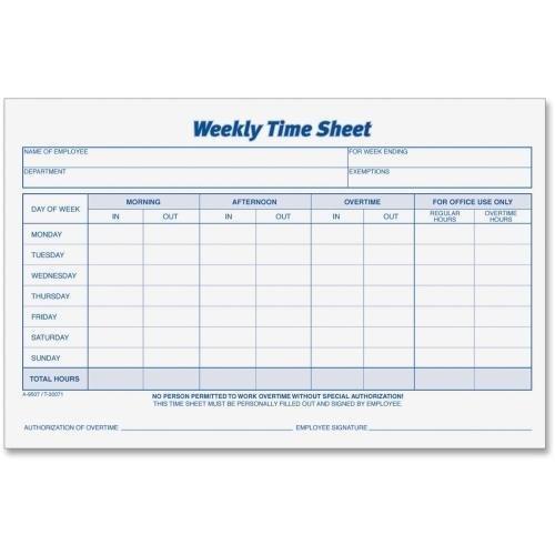 30071 TOPS Weekly Timesheet Form - 100 Sheet(s) - 5.50