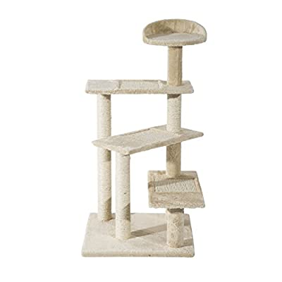 "Pawhut 39"" Multi-Platform Scratching Post Cat Tree - Beige from Aosom Direct - Lawn & Garden"