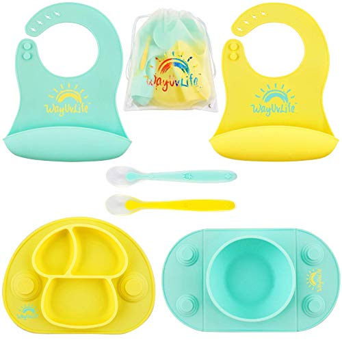 Baby Feeding Set & Travel Bag | Toddler plates and bowls | 2 Deep Silicone Baby Spoons | 2 Silicone toddler Bibs for Babies | Baby Plates with Suction | Baby Bowls with Suction | Baby Led Weaning Dish