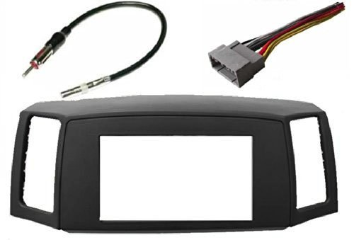 Double Din Navigation Radio Bezel Dash Install Kit with Standard Wiring Harness and Antenna Adapter - GREY Fitted For Jeep Grand Cherokee 2005-2007