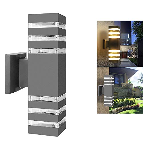 Outdoor Wall Sconce LED Lights-Modern Waterproof Up Down Aluminum Cylinder LED Wall Light Fixtures Dual Head Wall Lamp With E27 Socket AC 85-240V for Courtyard Garden Porch Corridor ( Cuboid Gray)