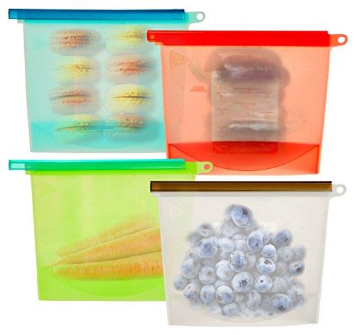 Silicone Food Bags – Zip Closure for Air Tight Food Storage - Reusable Foodsaver Bags - Food Grade, BPA-Free, Keeps Food Fresh, Freeze, Heat, Steam, Microwave, Set of 4