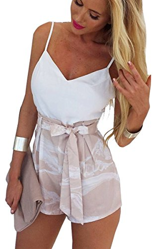 FANCYINN Women 2 Pieces White Crop Top and Short Pants With Belt Casual Style M - Style Two Piece
