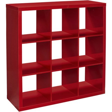 Better Homes and Gardens 9-Cube Versatile Organizer Storage Bookcase in Red Lacquer