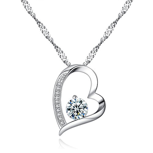 (KoiCity Heart Necklace Cubic Zirconia Pendant 18K White Gold for Women Mother Daughter Teen Girl Mom Sister)