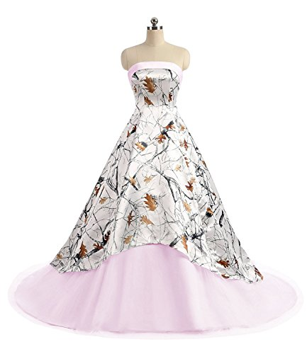 APXPF Women's Camo Printed Wedding Dress Tulle Ball Gown Prom Party Quinceanera Dress Light Pink US10