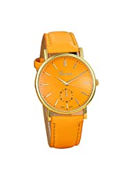 Lowpricenice New Unisex Leather Band Analog Quartz Vogue Wrist Watch Watches Orange