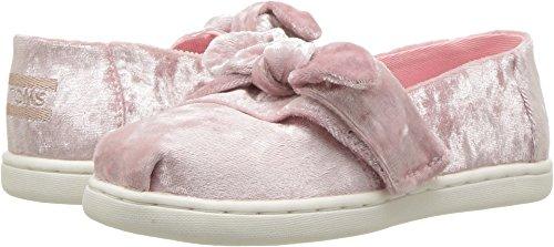TOMS Kids Baby Girl's Alpargata (Infant/Toddler/Little Kid) Light Faded Rose Velvet/Bow 9 M US - Pink Tom