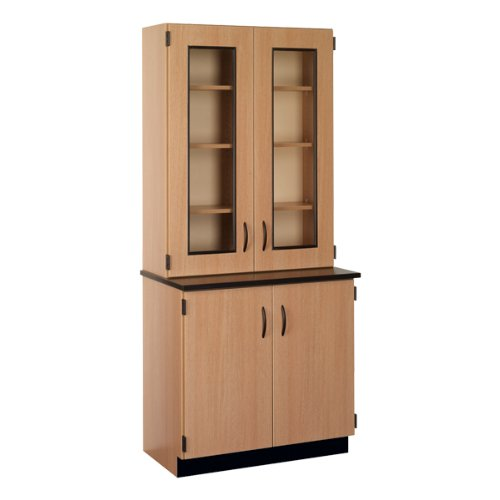 Science Hutch Lockable Cabinet w/ Glass Display (Locker Storage Hutch)