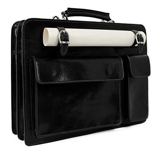 Time Resistance Leather Briefcase - Satchel Work Bag - Hand Dyed by Vegetable Tanning - Shoulder Strap - Unisex (Black)