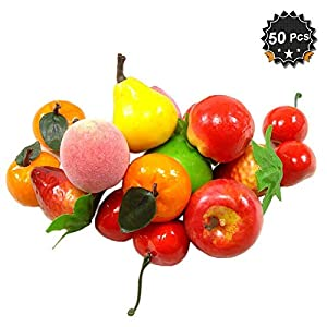50 pcs Mini Artificial Fruit Simulation Fake Fruit for Home Kitchen Cabinet Decoration Photography Props Cognitive Toys 31