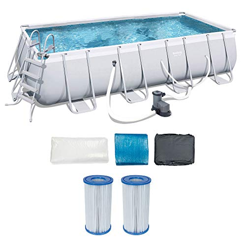 Bestway 18 x 9 Ft Above Ground Pool Set w/Ladder, Pump, and Cartridges (2 Pack) Above Ground Swimming Pool