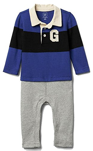 Baby Gap Boys Blue Rugby Logo Double-Layer Shirt Romper 6-12 - Piece Baby Gap One