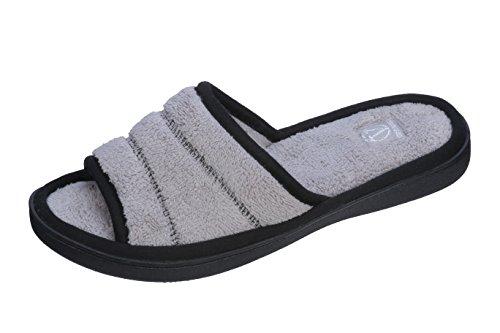 Joan Vass Womens Comfort Open Toe Peep Toe Terry Slide Slipper Gray
