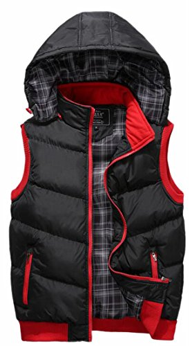 Winter Year Black Hood uk Fly Warm Outwear Vest Removable Men Quilted Puffer qfTwtt