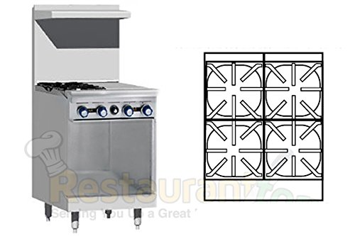 Imperial Commercial Restaurant Range 24'' With 2 Burners 12'' Griddle Cabinet Base Nat Gas Ir-2-G12-Xb by Imperial