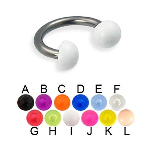 MsPiercing Acrylic Half Ball Titanium Circular Barbell, 12 Ga, 3/8