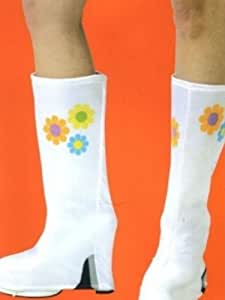 Amazon Com White Flower Go Go Boots Hippie Boot Covers