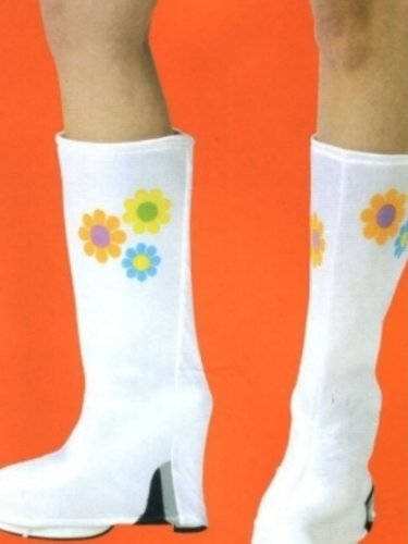 White Flower Go Go Boots Hippie Boot Covers toppers